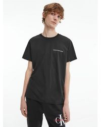 Calvin Klein T-shirt Van Biologisch Katoen Met Logo Op De Rug - Zwart