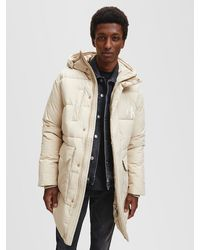 Calvin Klein Recycled Polyester Padded Parka Coat - Natural
