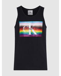 Calvin Klein Organic Cotton Rainbow Logo Tank Top - Black