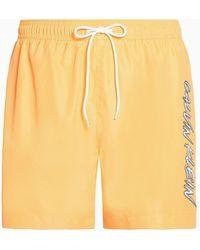 Calvin Klein Medium Zwemshort Met Trekkoord - Ck Wave - Oranje