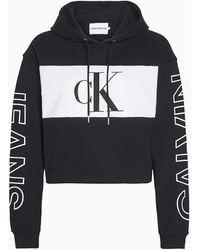 Calvin Klein Cropped-Kapuzenpullover - Schwarz
