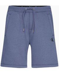 Calvin Klein Korte Fleece joggingbroek - Grijs