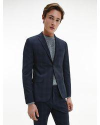 Calvin Klein - Blazer de cuadros de lana el�stica con botonadura sencilla - Lyst