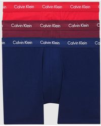 Calvin Klein 3-pack Boxers Lang - Cotton Stretch - Rood