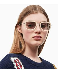 Calvin Klein Rechthoekige Zonnebril Ckj18700s - Wit