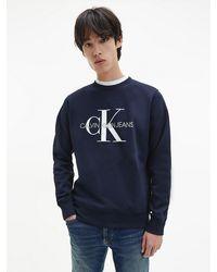 Calvin Klein Sweatshirt Met Logo Van Biologisch Katoen - Blauw