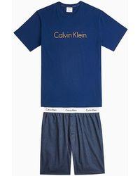 Calvin Klein Pyjama Met Korte Broek - Modern Cotton - Blauw