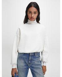 Calvin Klein Gerecycled Sweatshirt Van Katoenmix Met Logo - Naturel