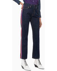 Calvin Klein Ckj 030 High Rise Straight Side Stripe Jeans - Blauw