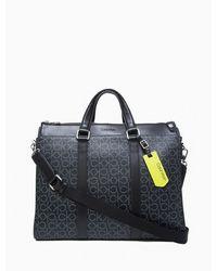 Calvin Klein Refined Monogram Logo Slim Briefcase - Black
