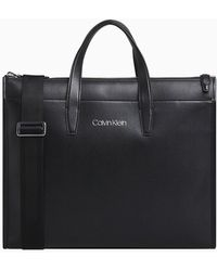 Calvin Klein Leather Laptop Bag - Black