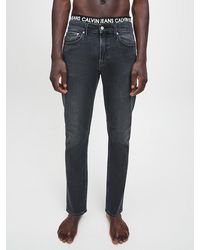 Calvin Klein Slim Tapered Jeans Met Tailleband Met Logo - Zwart