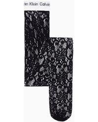 Calvin Klein Collants en dentelle avec logo - Noir