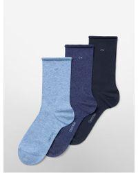 CALVIN KLEIN 205W39NYC - Underwear 3-pack Combed Cotton Rolled Cuff Crew Socks - Lyst