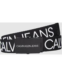 Calvin Klein Canvas Kinderriem Met Logo - Zwart