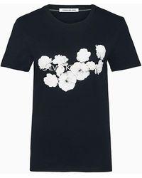 Calvin Klein Slim T-shirt Met Bloemenlogo - Zwart