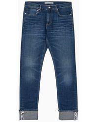 Calvin Klein CKJ 026 Slim Cuff Logo Jeans - Bleu