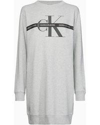 Calvin Klein Vestido estilo sudadera con logo con monograma - Gris