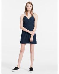 f5bec11082 Lyst - Calvin Klein Jeans Drawstring Chambray Sleeveless Dress in Blue