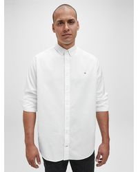 Calvin Klein Plussize Slim Oxford Katoenen Overhemd - Wit