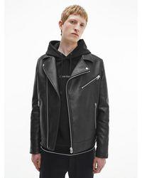 Calvin Klein Faux Leather Biker Jacket - Black