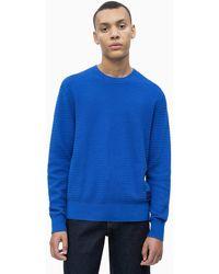 Calvin Klein Katoenen Wollen Trui Met Textuur - Blauw