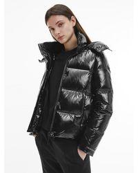 Calvin Klein Recycled Nylon High Shine Puffer Jacket - Black