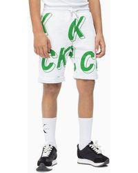 Calvin Klein Sweatshort Volledig Bedrukt Met 3d-logo - Groen