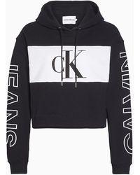 Calvin Klein Sweat crop à capuche - Noir