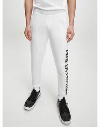 Calvin Klein Slim joggingbroek Van Biologisch Katoen Met Logo - Wit