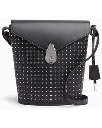 Calvin Klein Lock Kleine Leren Bucket Bag Met Studs - Zwart