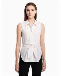 Calvin Klein - Tie Front Sleeveless Blouse - Lyst