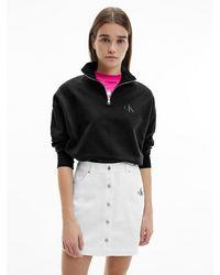 Calvin Klein - Sweatshirt Van Biologisch Katoen Met Halsrits - Lyst