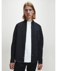 Calvin Klein Slim Fit Stretch Poplin Overhemd - Zwart