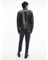 Calvin Klein Leather Biker Jacket - Black
