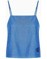 Calvin Klein Top denim - Azul