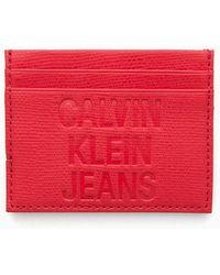 Calvin Klein Leren Pashouder - Rood
