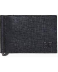 Calvin Klein Leren Geldclip-portemonnee - Zwart