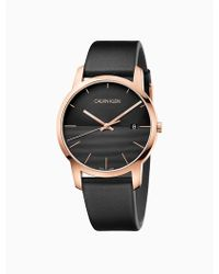 Calvin Klein - City Leather Rose Gold Watch - Lyst