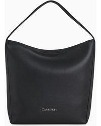 Calvin Klein Leren Hobo Bag - Zwart
