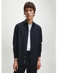 Calvin Klein Slim Stretchkatoenen Overhemd - Zwart