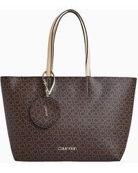 Calvin Klein Tote Bag Met Logo - Bruin