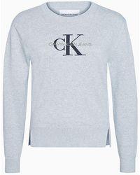 Calvin Klein Trui Van Biologisch Katoen Met Logo - Grijs