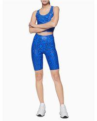 Calvin Klein Performance Printed High Waist Bike Shorts - Blue