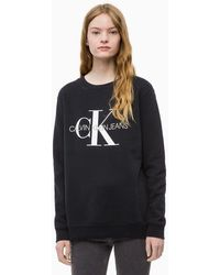 Calvin Klein Logo-print Cotton Sweatshirt - Black