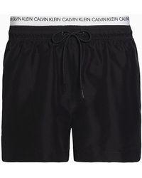 Calvin Klein Kort Zwemshort Met Dubbele Tailleband - Ck Logo - Zwart