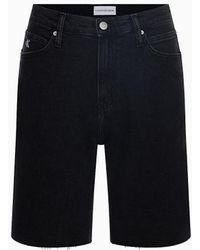 Calvin Klein Mom Short Van Denim Met Hoge Taille - Ck One - Zwart