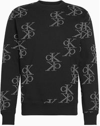 Calvin Klein Sweater Met Monogram - Zwart