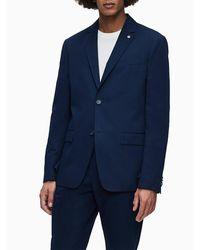 Calvin Klein Katoenen-linnen Blazer - Blauw