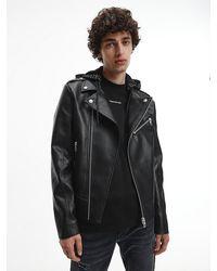Calvin Klein Faux Leather Hooded Biker Jacket - Black